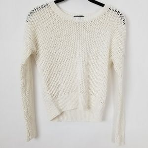 James Perse Open off White Knit Crew Neck Sweater